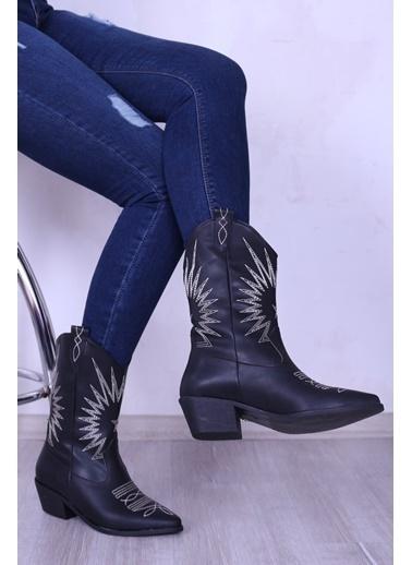 Derigo Derigo 8870 Işlemeli Çizme Kadın Bot Siyah